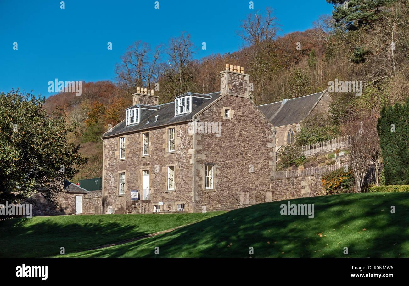 Robert Owen's house at New Lanark Mills World Heritage Site by the River Clyde in Lanark Lanarkshire Scotland UK - Stock Image
