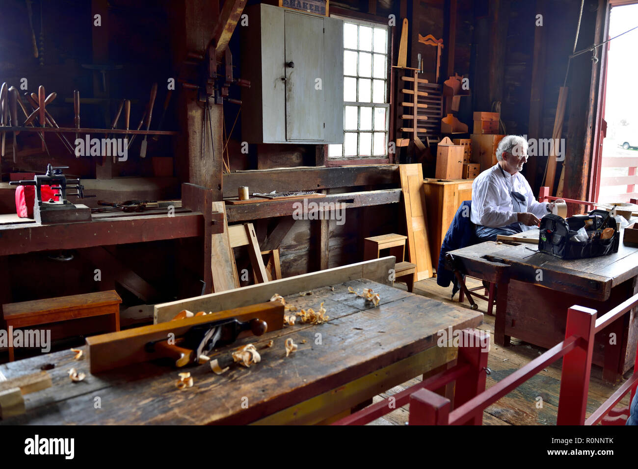 Inside Hancock Shaker Village woodworking workshop, on Interstate 20 near Pittsfield MA, USA - Stock Image