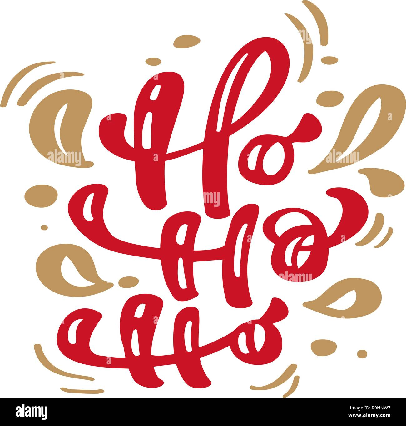Ho Ho Ho Red Christmas Vintage Calligraphy Lettering Vector Text