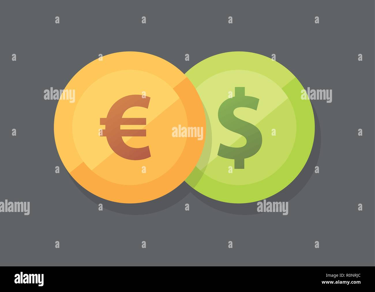Currency pair of Euro vs Dollar vector icon on dark background - Stock Vector