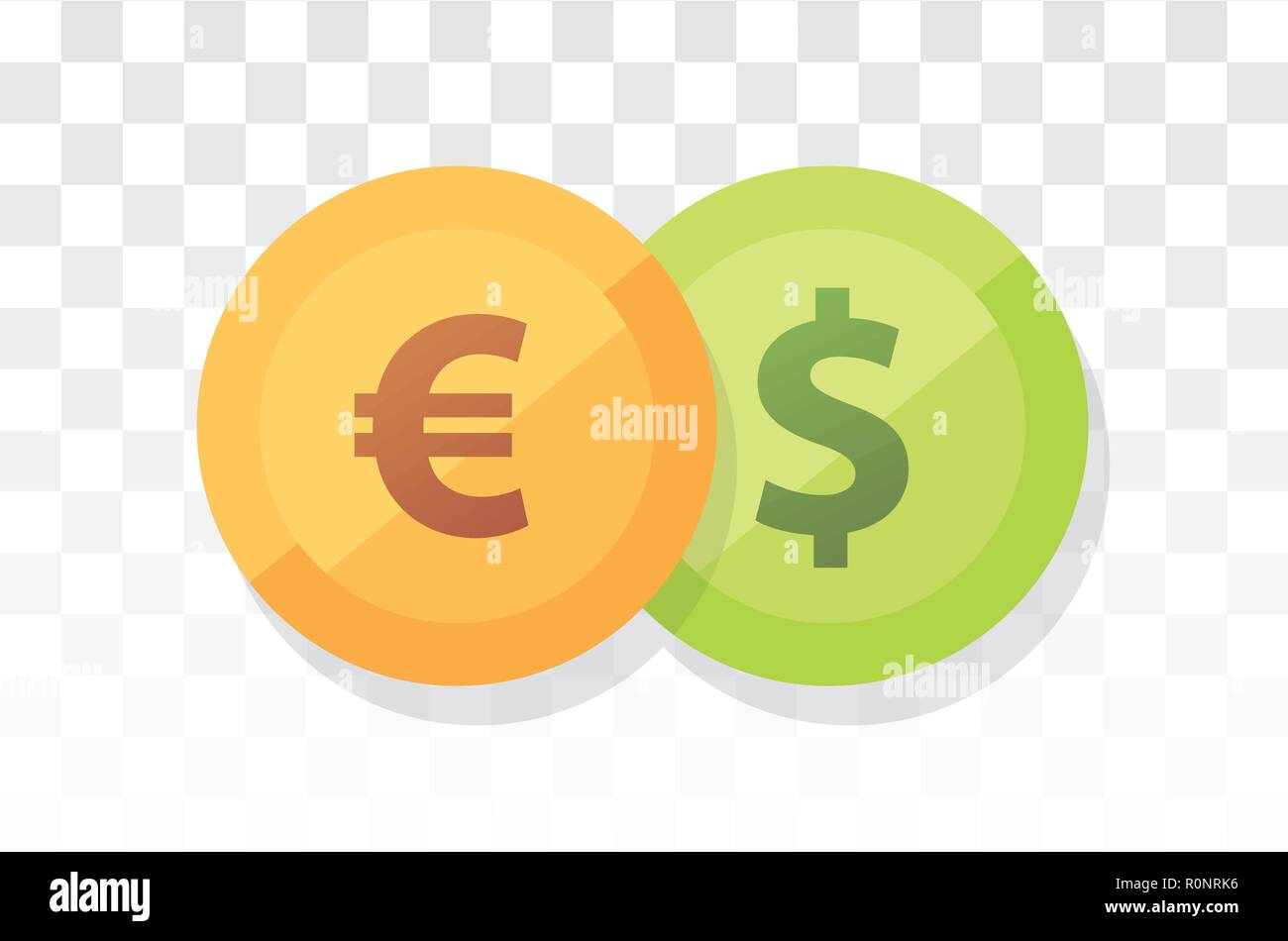 Euro vs American Dollar - Currency pair on transparency and white background - Stock Vector