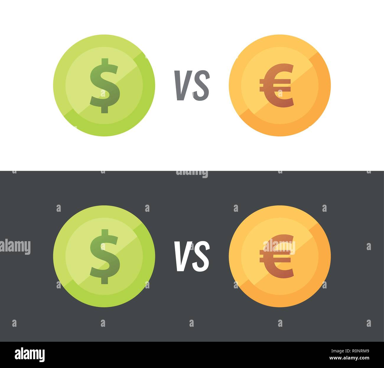 Currency pair of Euro vs Dollar - vector illustration on white and black background. - Stock Vector