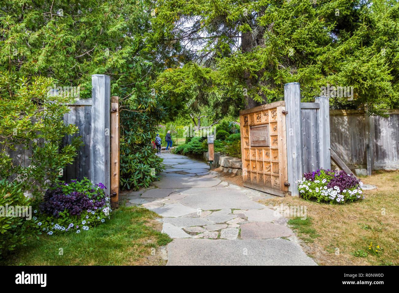 Thuya Garden in Northeast Harbor on Mount Desert Island in Maine, United States Stock Photo