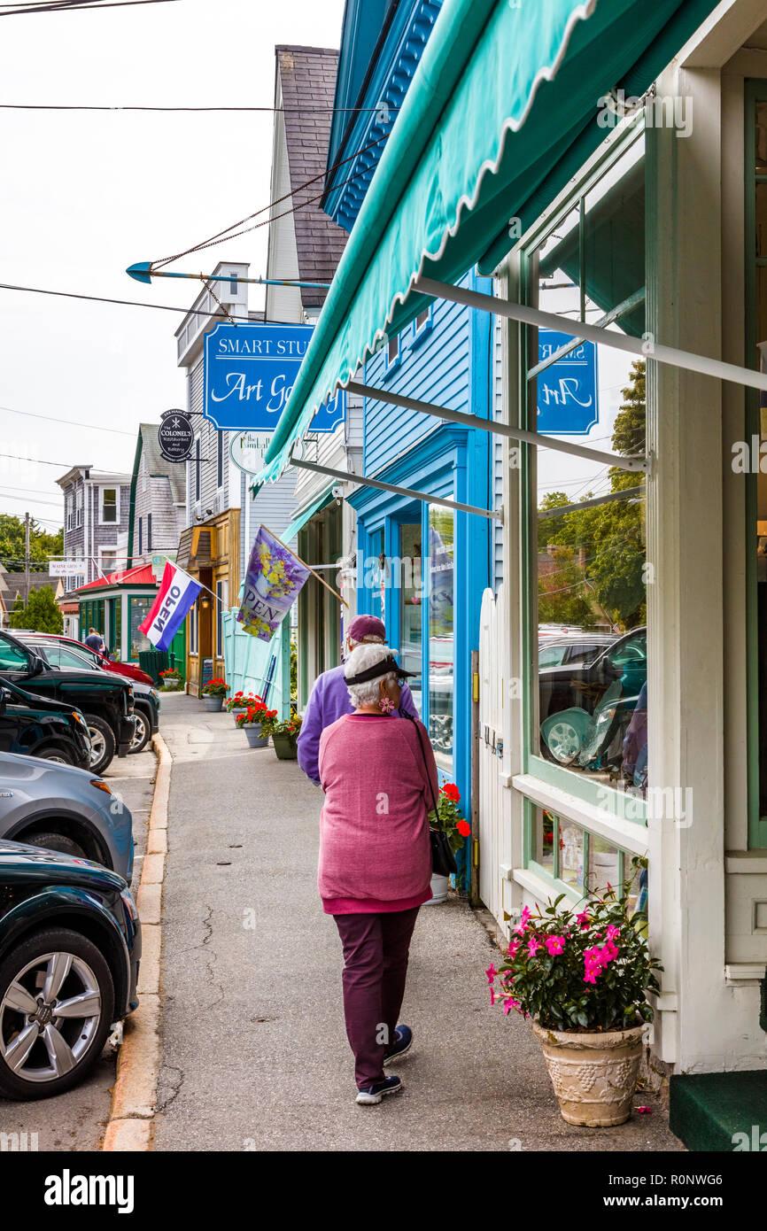 Main street of Northeast Harbor on Mount Desert Island in Maine, United States - Stock Image