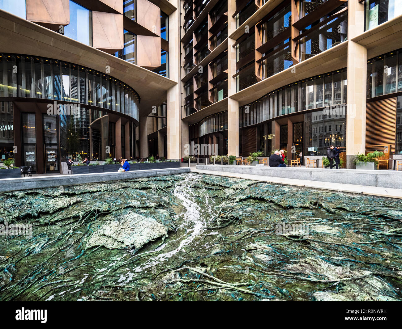 Bloomberg Building London - European HQ of Bloomberg L.P. Opened 2017 architects Foster and Partners - Cristina Iglesias's water feature - Stock Image