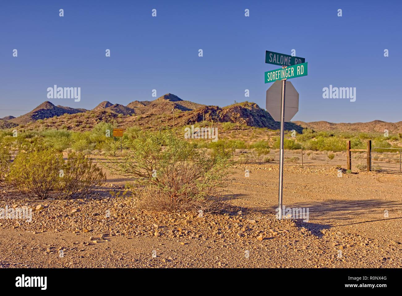 Salome and Sorefinger Road junction, Arizona, United States - Stock Image