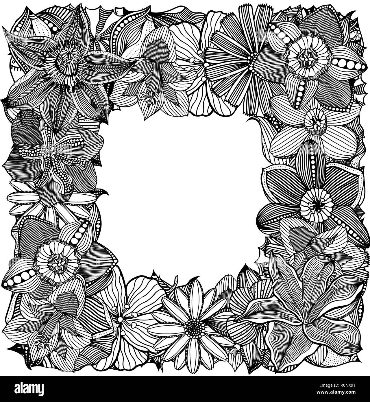 Ethnic floral zentangle, doodle frame in vector  Henna