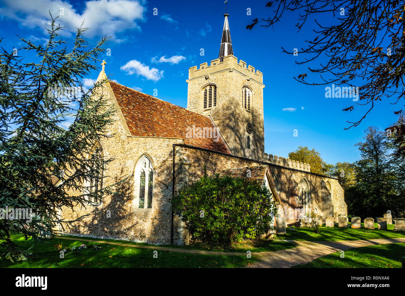 St Mary and St Andrew's Church Whittlesford Cambridge - recorded from 1217 but parts date from Norman times - Stock Image