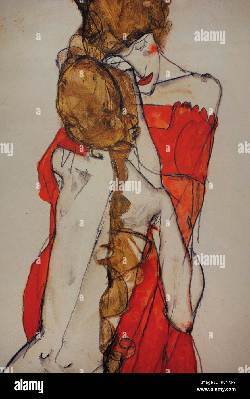 Egon Schiele (Tulln, 1890-Vienna, 1918). Austrian Expressionist painter. Mother and Daughter, 1913. Pencil and gouache on paper. Leopold Museum. Vienna, Austria. - Stock Image