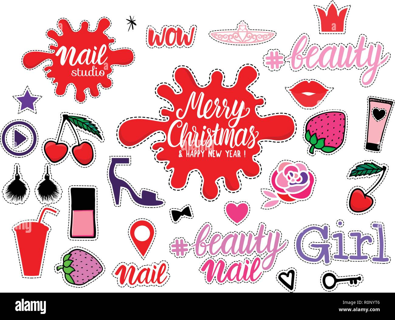 Big Set Fashion Girly sign illustrations. Merry Christmas. Vector collection trendy color hand drawn isolated on white background. Beauty, Nail Beauty, makeup, accessories studio icon. - Stock Vector