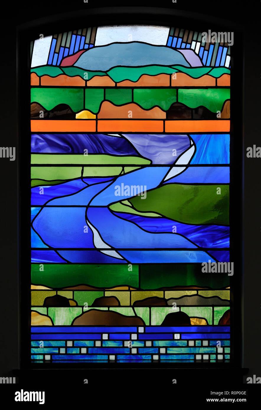 'Pentecost II', South aisle window by Brian Clarke. Christ Church, Thornton-le-Fylde, Lancashire, England, United Kingdom, Europe. - Stock Image