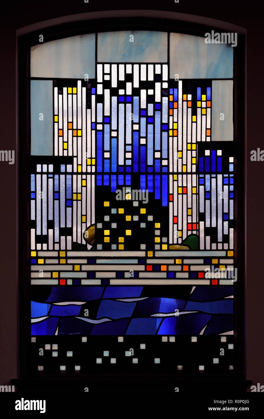 'Pentecost III', South aisle window by Brian Clarke. Christ Church, Thornton-le-Fylde, Lancashire, England, United Kingdom, Europe. - Stock Image