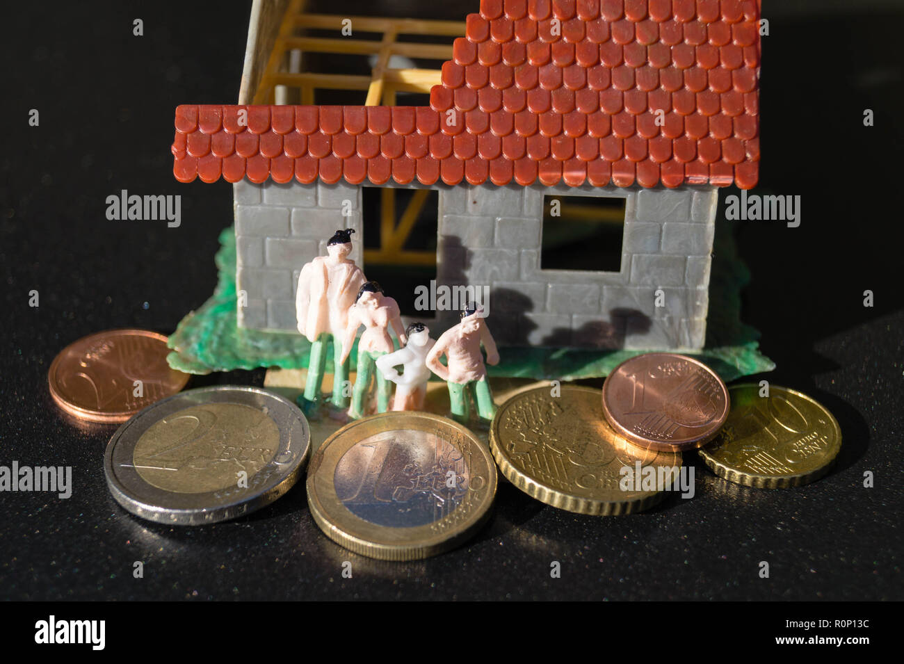 Child benefit to build and finance a home - Stock Image
