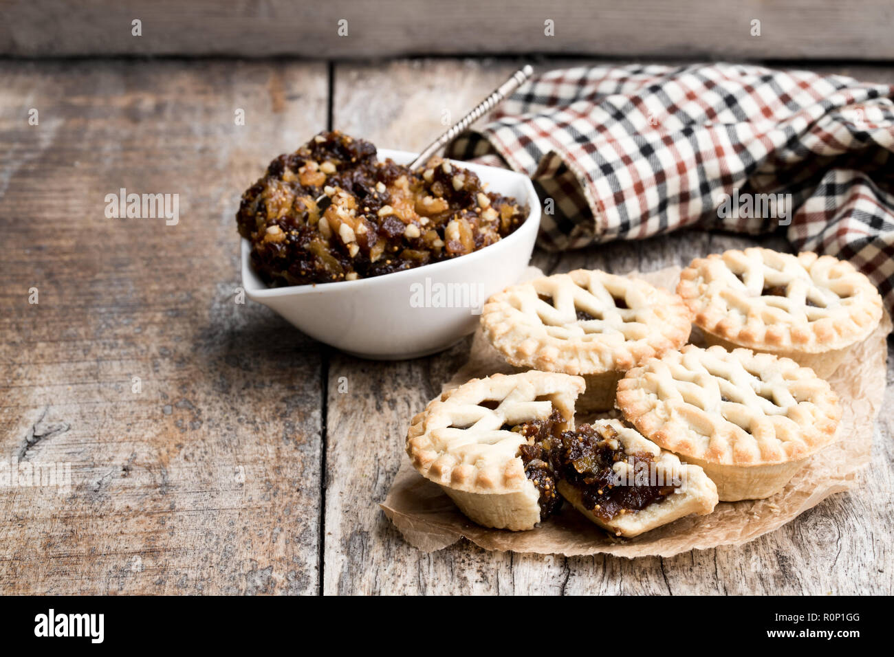 Mince  pie group on wooden table - Stock Image