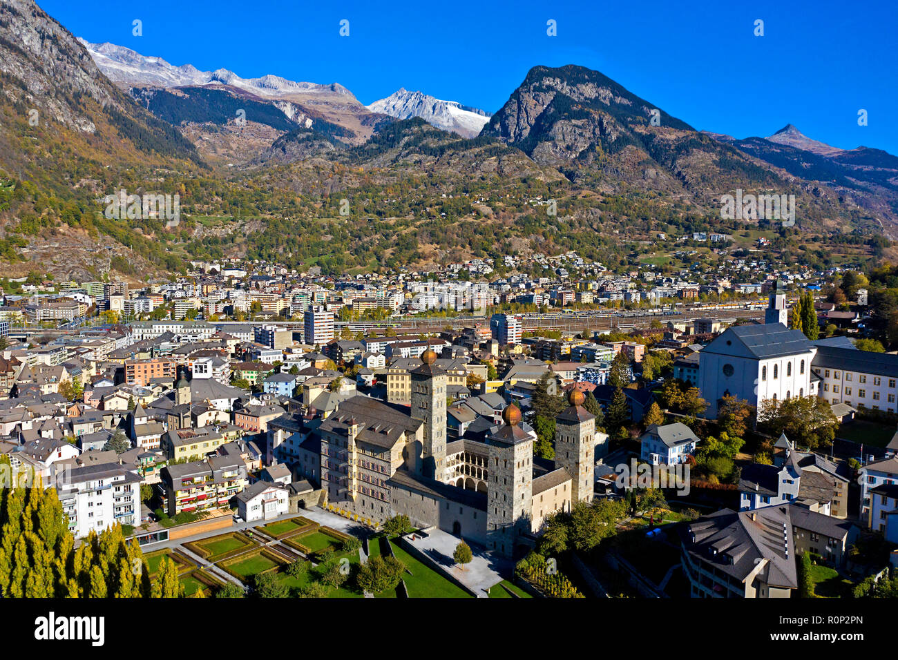 The town of Brig with the medieval castle Stockalperpalast, Brig, Valais, Switzerland - Stock Image