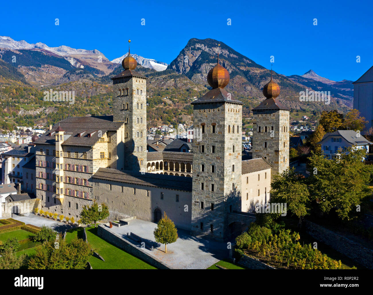 The medieval palace Stockalperpalast, Brig, Valais, Switzerland - Stock Image