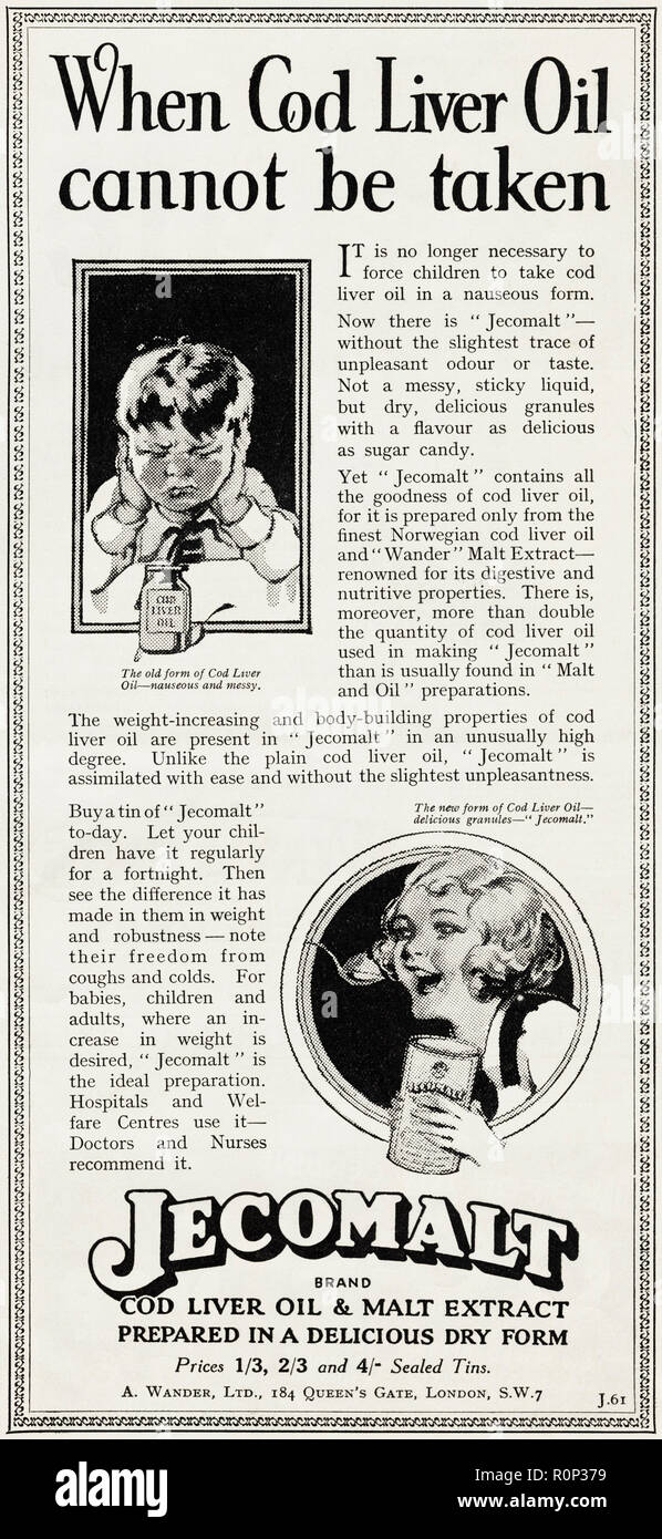 1930s old vintage original advert advertising Jecomalt cod liver oil & malt extract prepared in a delicious dry form in English magazine circa 1932 - Stock Image