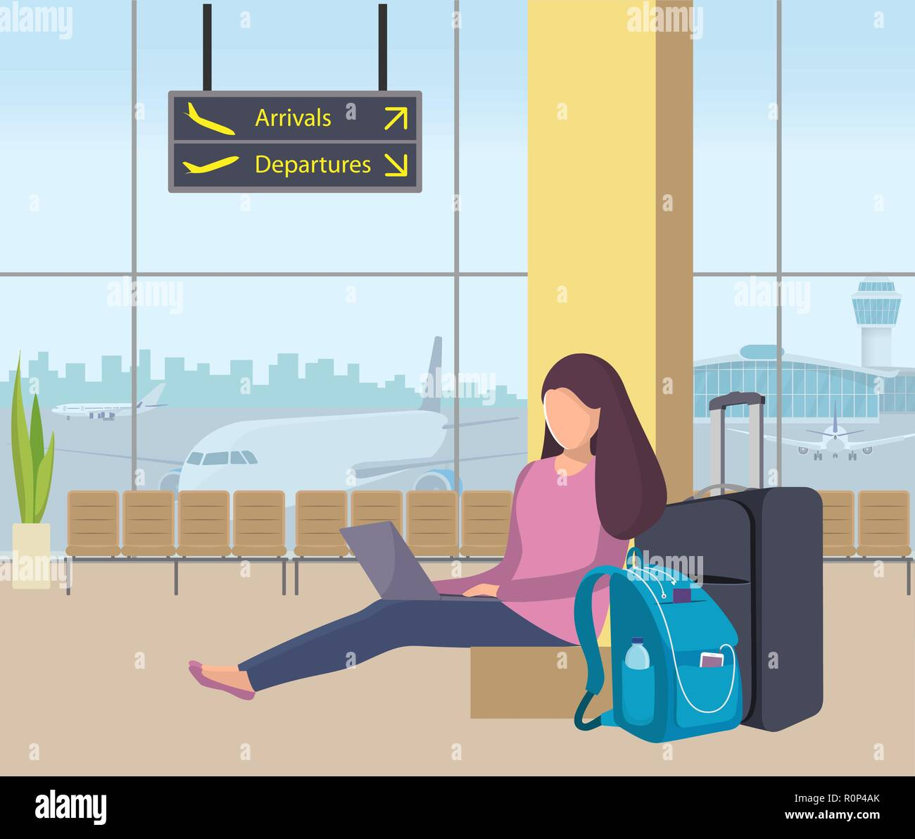 Young woman sitting in airport lounge with her suitcase and backpack and working on a laptop. Girl passenger at the airport. Planes and control tower  - Stock Vector