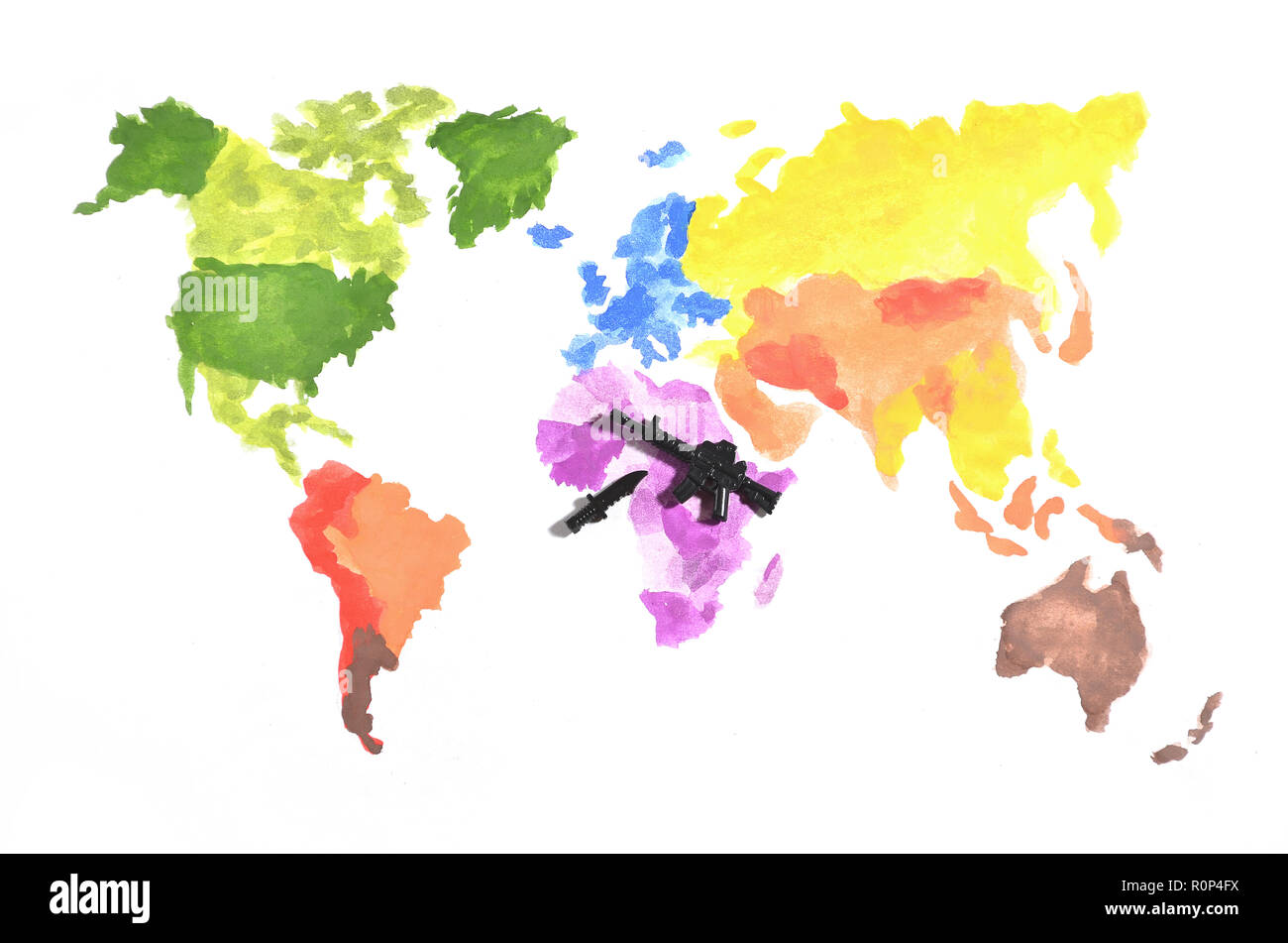 The world map is made with colored watercolor paints on white paper with the participation of a black toy gun and a knife. The concept of military ope - Stock Image
