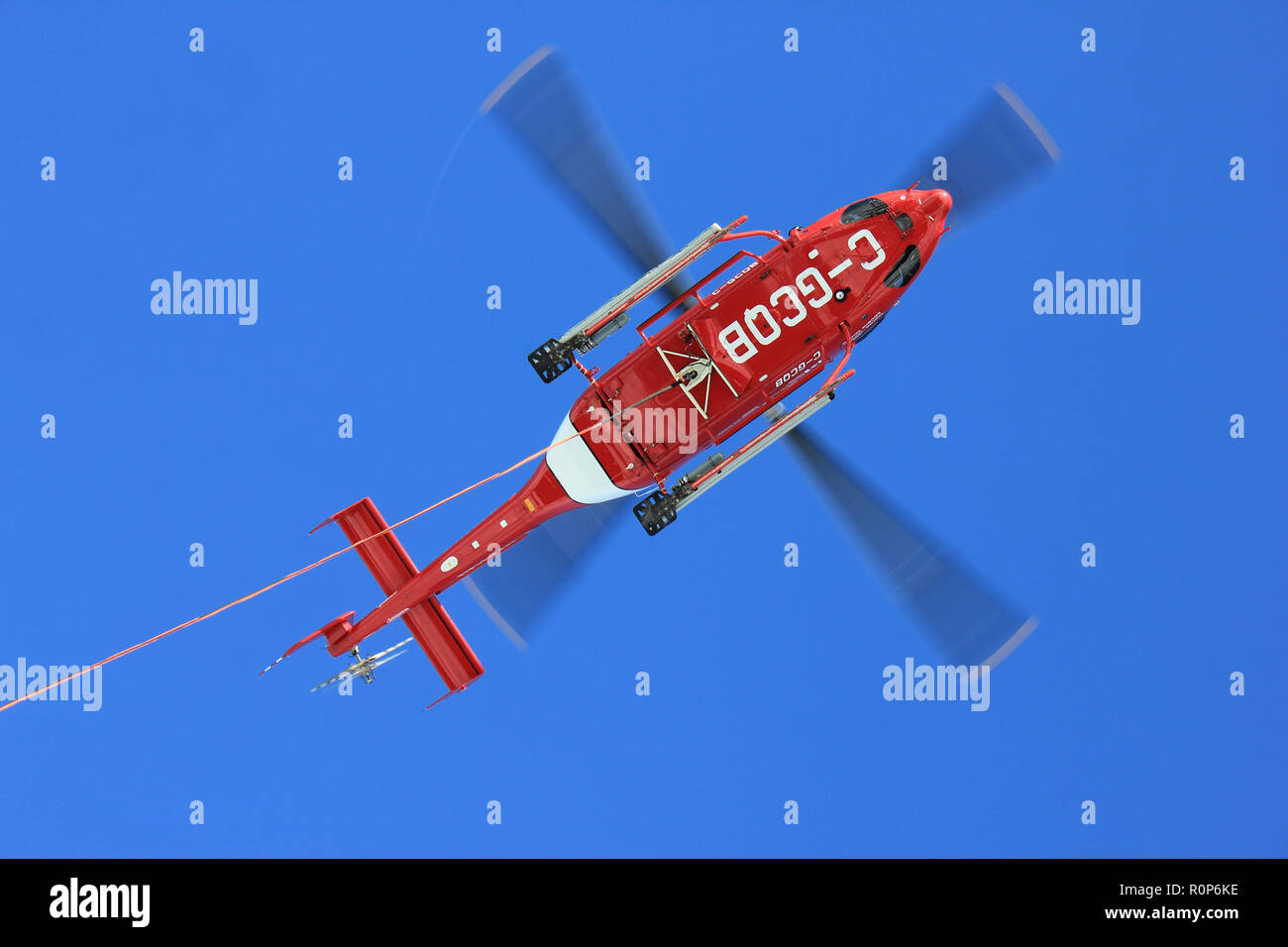 Canadian Coast Guard, Bell 429 Helicopter assigned to the CCGS Amundsen viewed from below - Stock Image