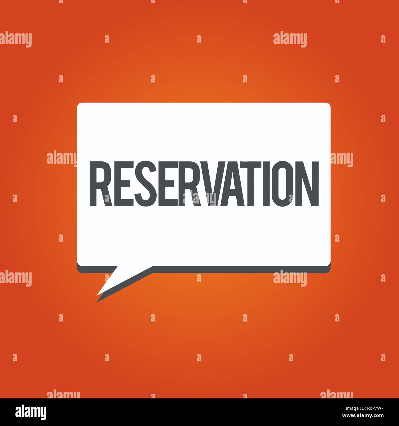 Writing note showing Reservation. Business photo showcasing Arrangement made so a seat somewhere is kept for someone. - Stock Image