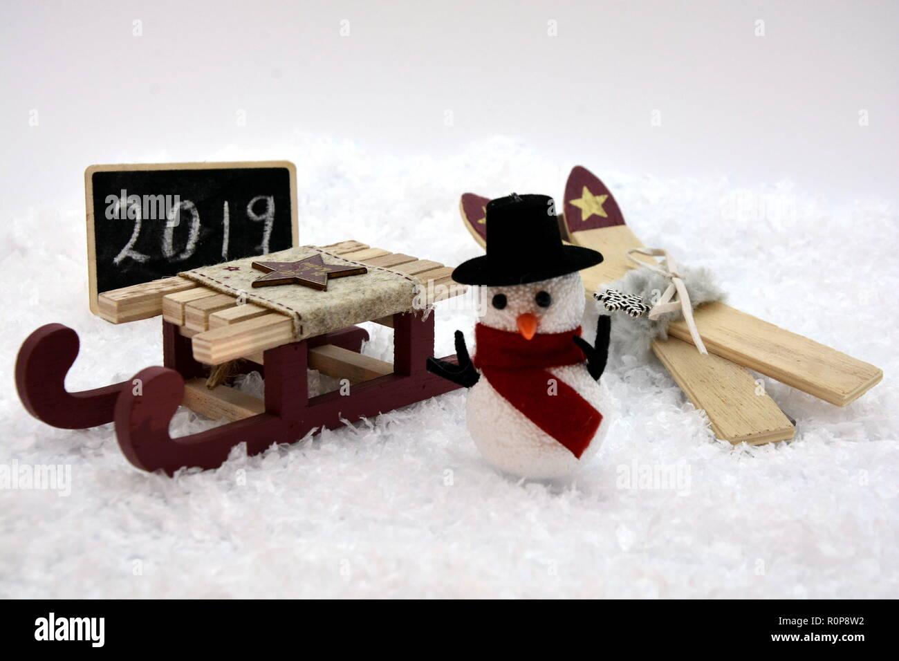 weihnachten silvester schnee schneemann stock photo. Black Bedroom Furniture Sets. Home Design Ideas