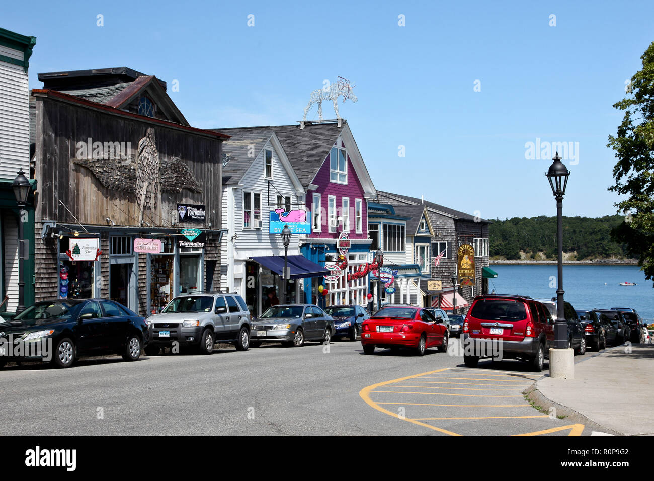 BAR HARBOR-AUGUST 08, 2010: Bar Harbor  architecture in downtown near Frenchman Bay in Maine, USA. - Stock Image
