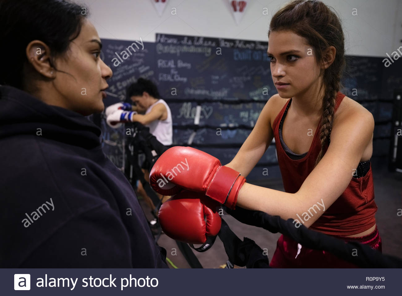 Female boxers talking in gym Stock Photo