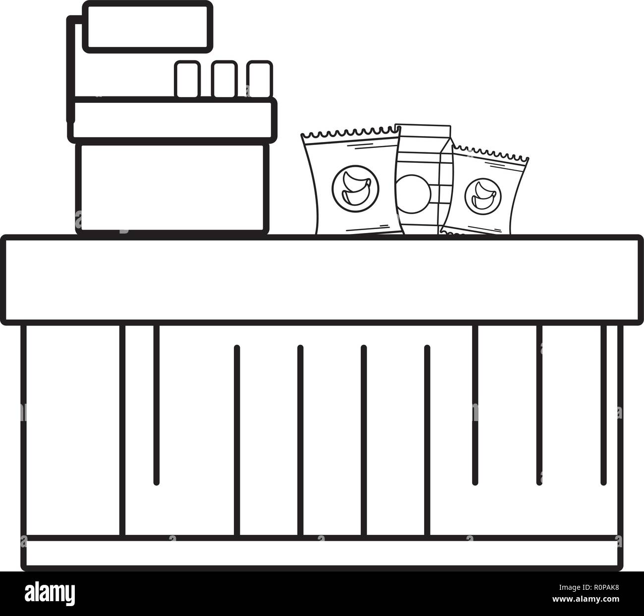 supermarket grocery products cartoon - Stock Image