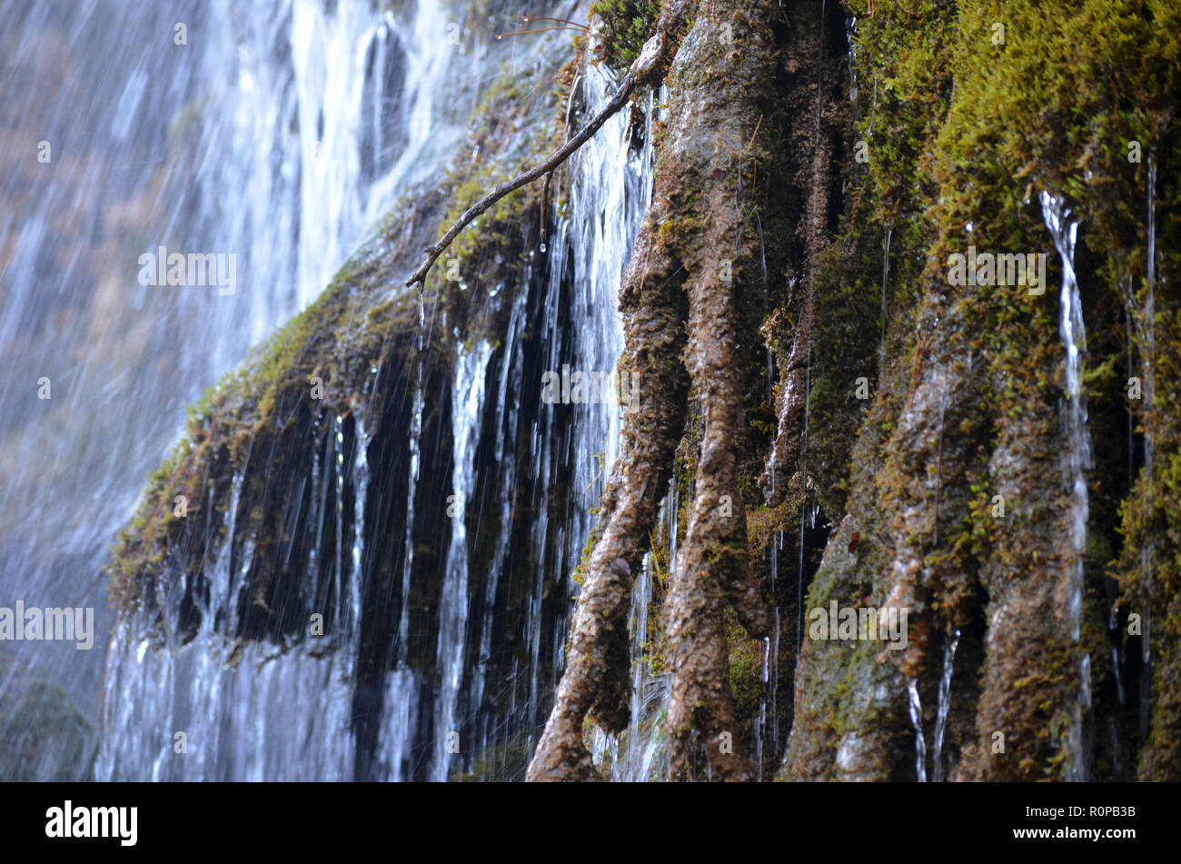 Tufas (Carbonate sinter deposits) and waterfalls in the Cuervo river, Cuenca, Spain - Stock Image