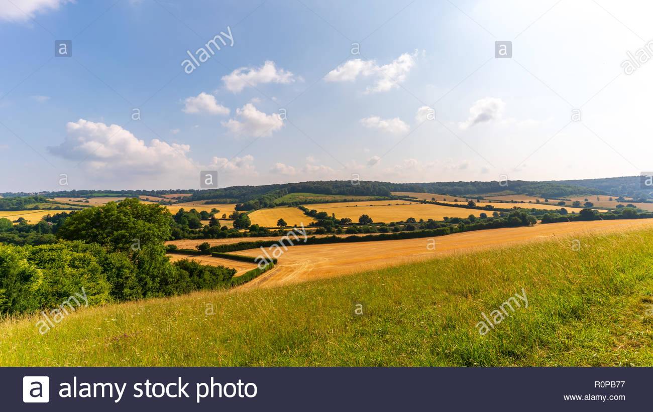 The Chiltern Hills countryside on a lovely summer weekend - Stock Image