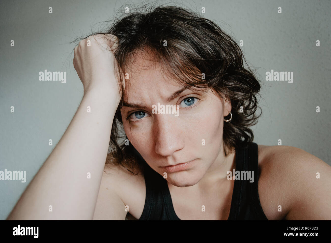 Woman Brown Hair Blue Eyes Short Stock Photos Woman Brown Hair