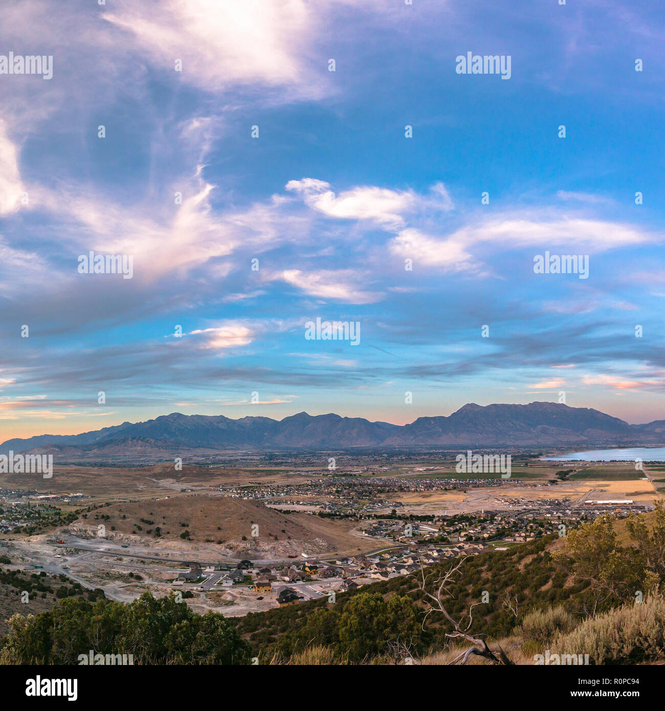 Utah Valley in Eagle Mountain under a cloudy sky - Stock Image