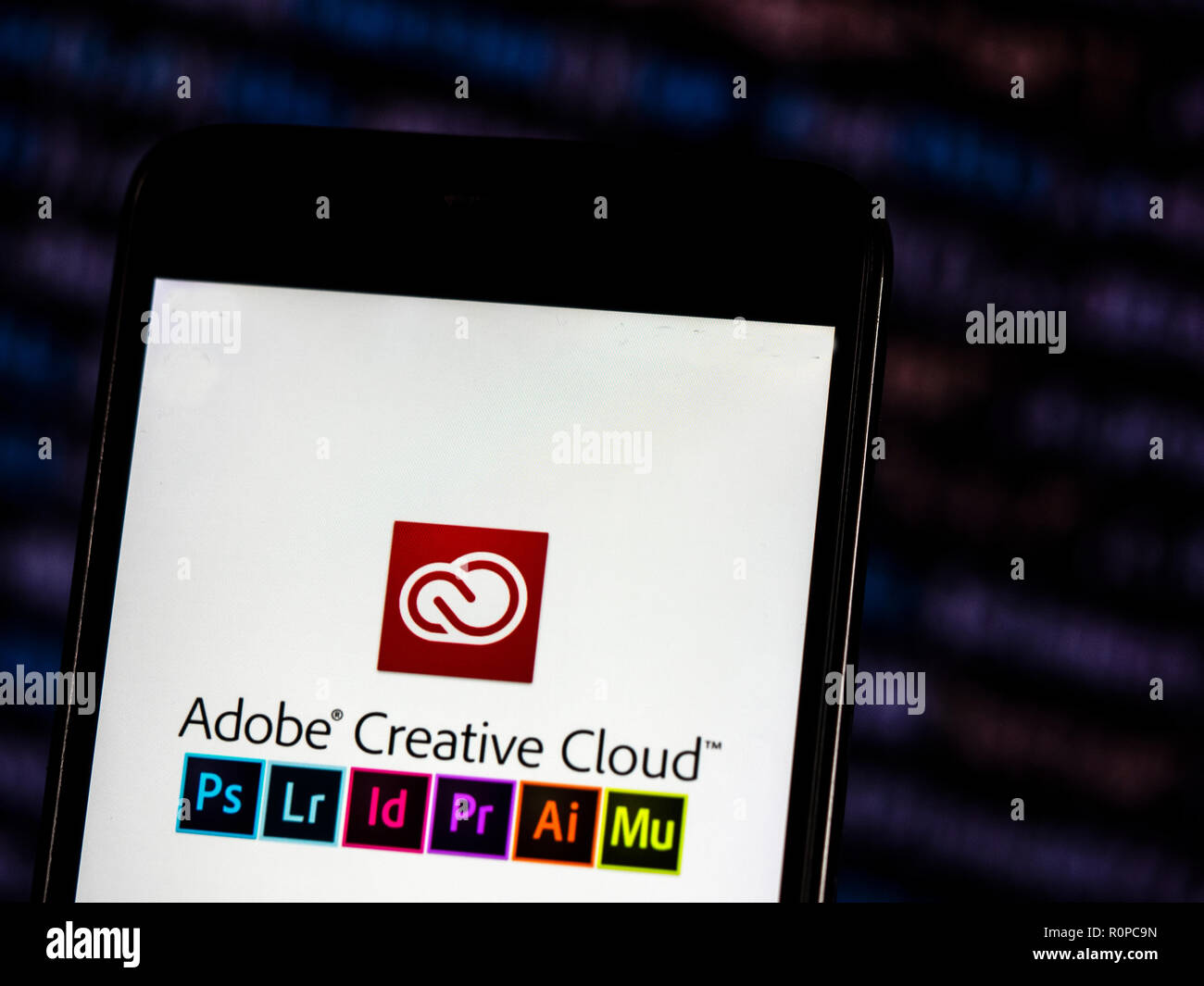 Adobe Creative Cloud Logo Seen Displayed On Smart Phone Adobe Creative Cloud Is A Set Of Applications And Services From Adobe Systems That Gives Subscribers Access To A Collection Of Software Used