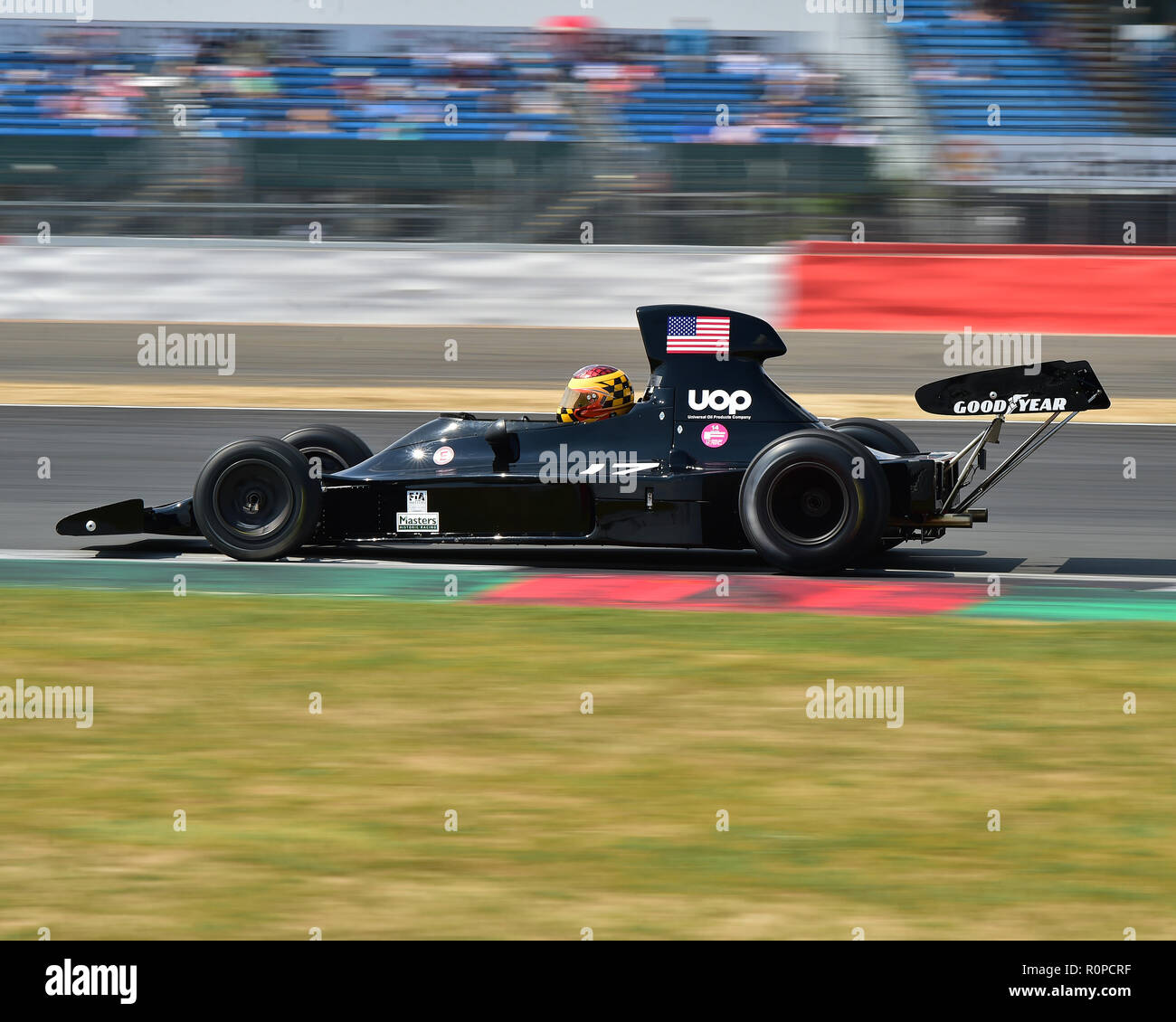Keith Frieser, Shadow DN1, FIA Masters, Historic Formula One, F1, Formula 1, Silverstone Classic, July 2018, Silverstone, Chris McEvoy, circuit racing - Stock Image