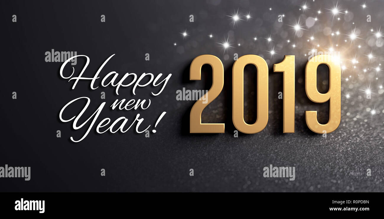 Happy New Year greetings and 2019 date number colored in gold, on a ...