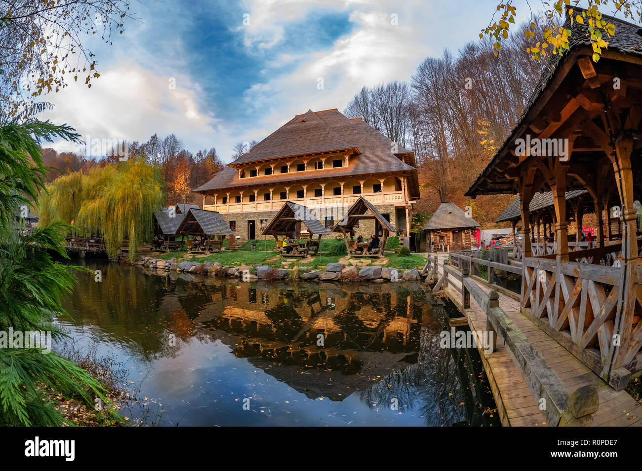 Trout farm Mara, in Sighetu Marmatiei, Maramures region - Romania Stock Photo