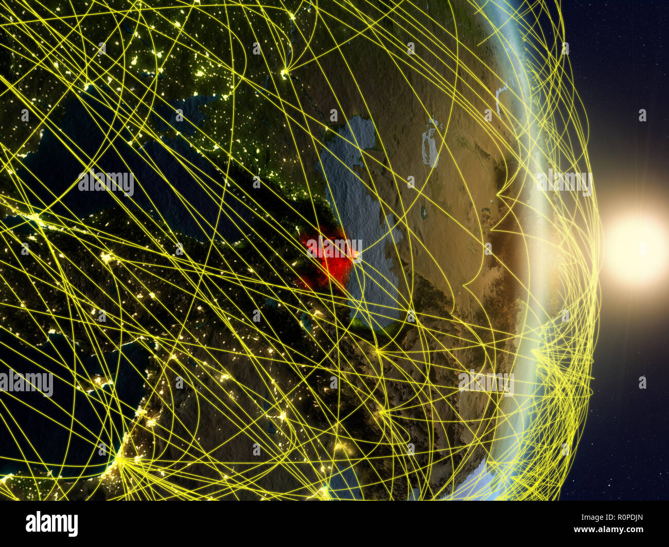 Azerbaijan in sunrise on planet planet Earth with network. Concept of connectivity, travel and communication. 3D illustration. Elements of this image  - Stock Image