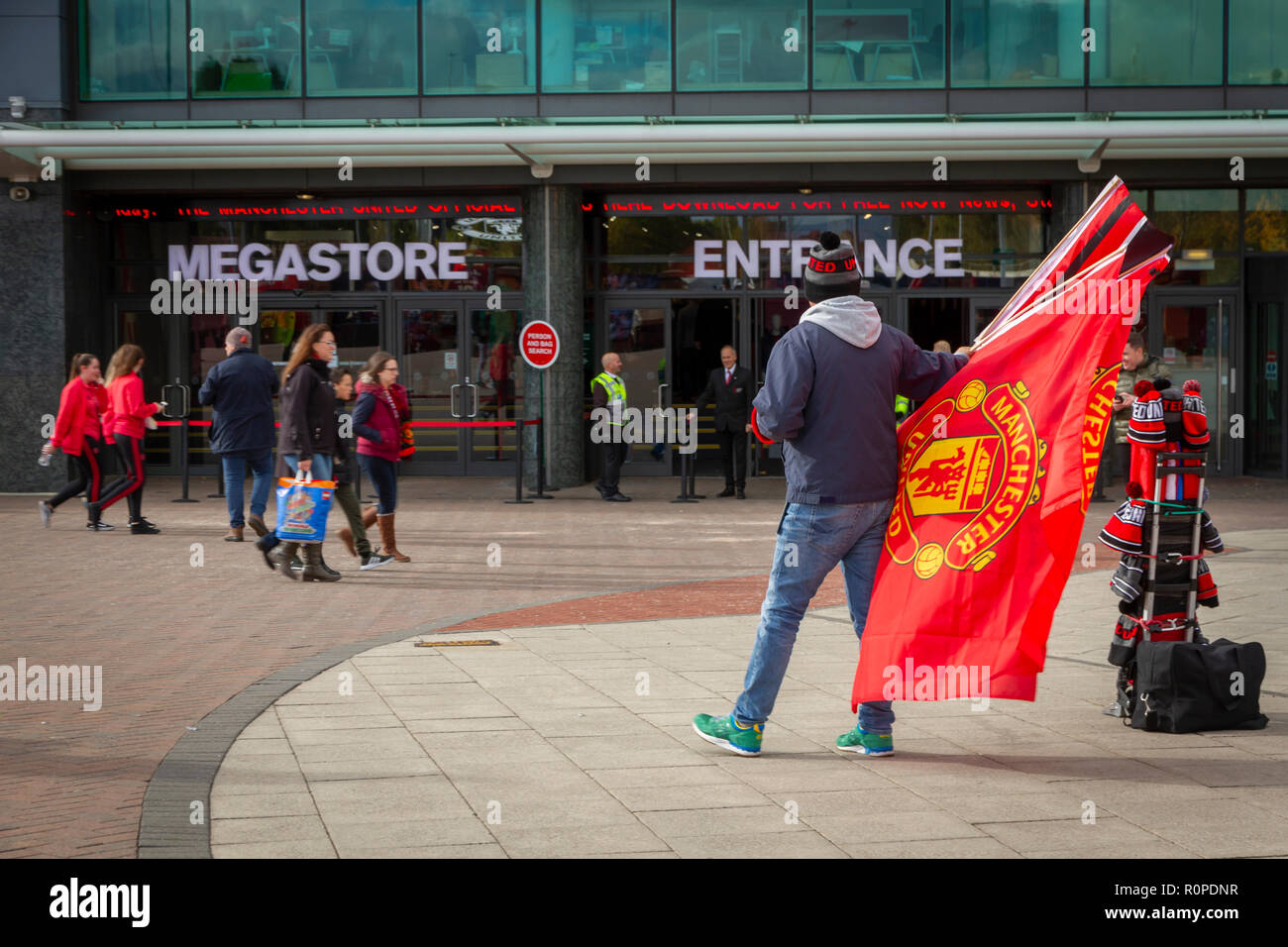 Scalf Sellers on Match Day outside Old Trafford Football Ground. Home of Manchester United Football Club. - Stock Image