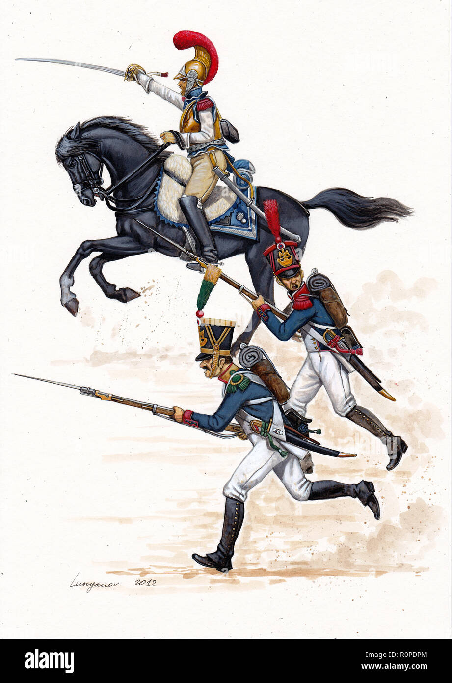 Carabineer , voltigeur and line infantry on the attack, 1812. - Stock Image