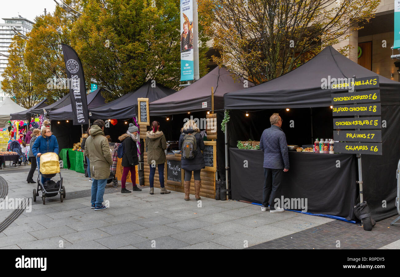 The Makers Market, craft and food market at the Lowry Outlet Shopping Centre, MediaCityUK, Salford Quays - Stock Image