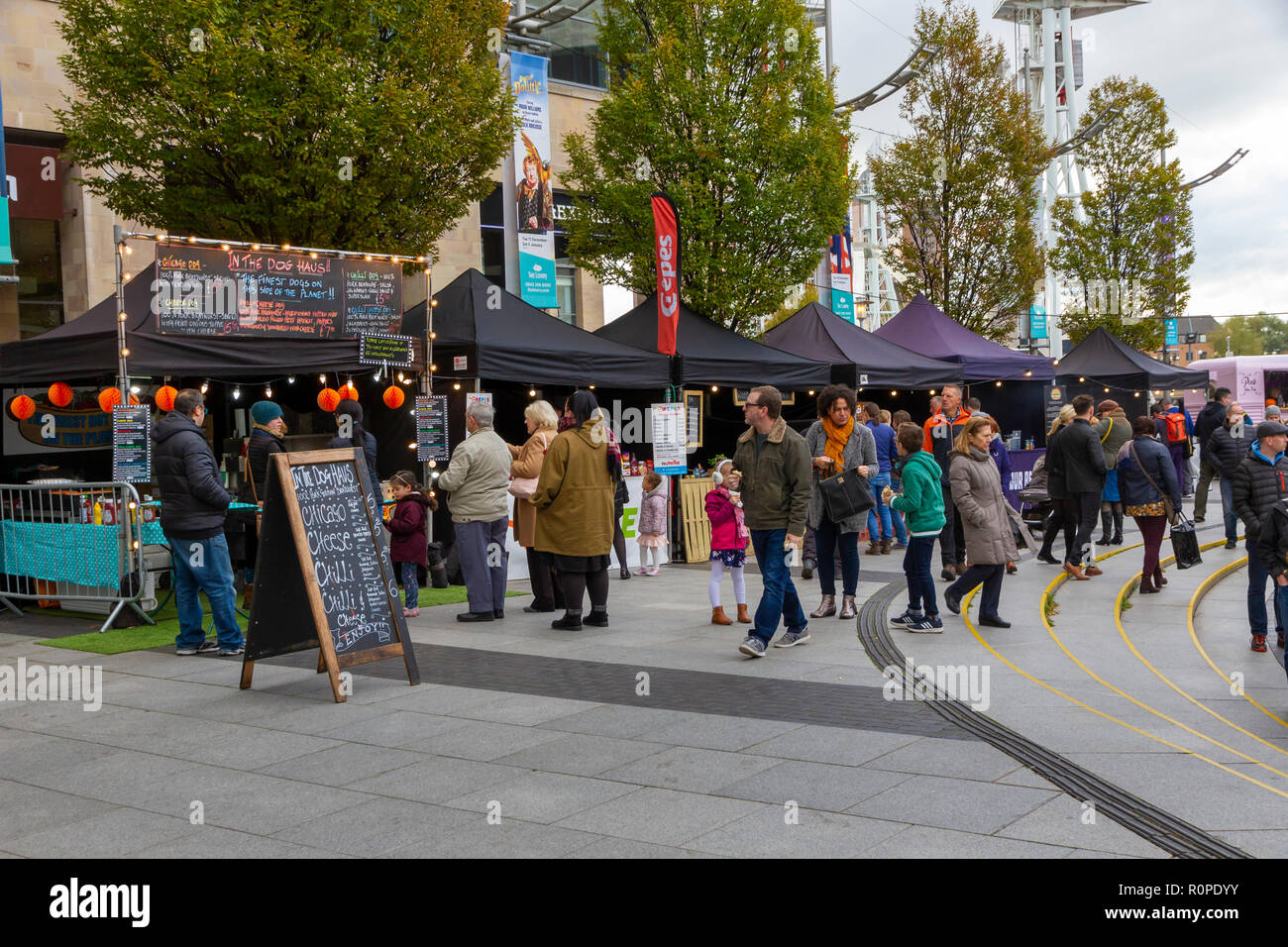 The Makers Market, craft and food market at the Lowry Outlet Shopping Centre, MediaCityUK, Salford Quays Stock Photo
