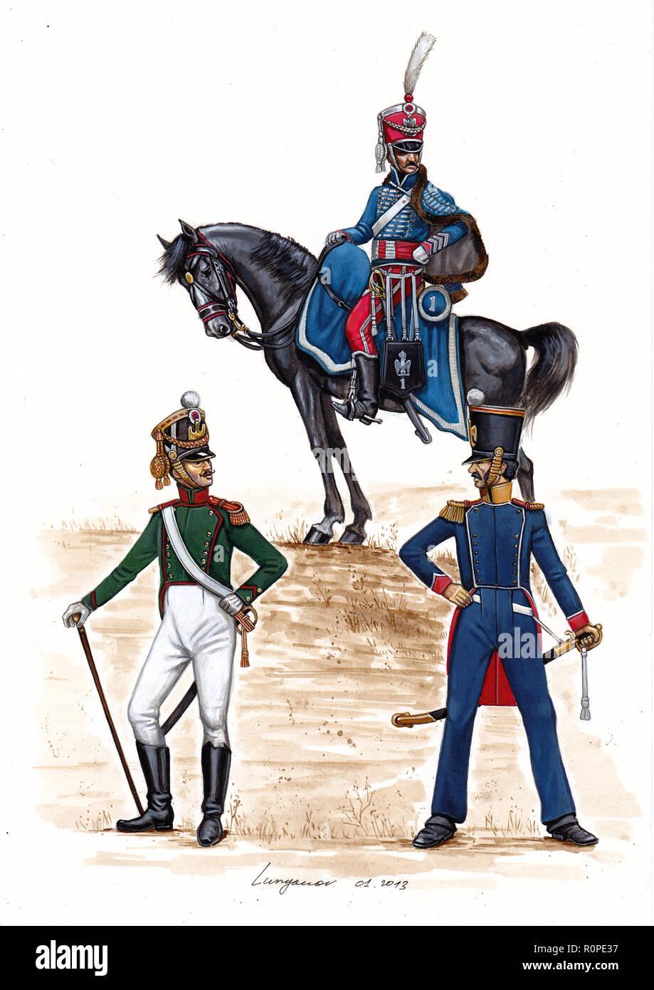 French Adjutants, 1810 - 1812. - Stock Image
