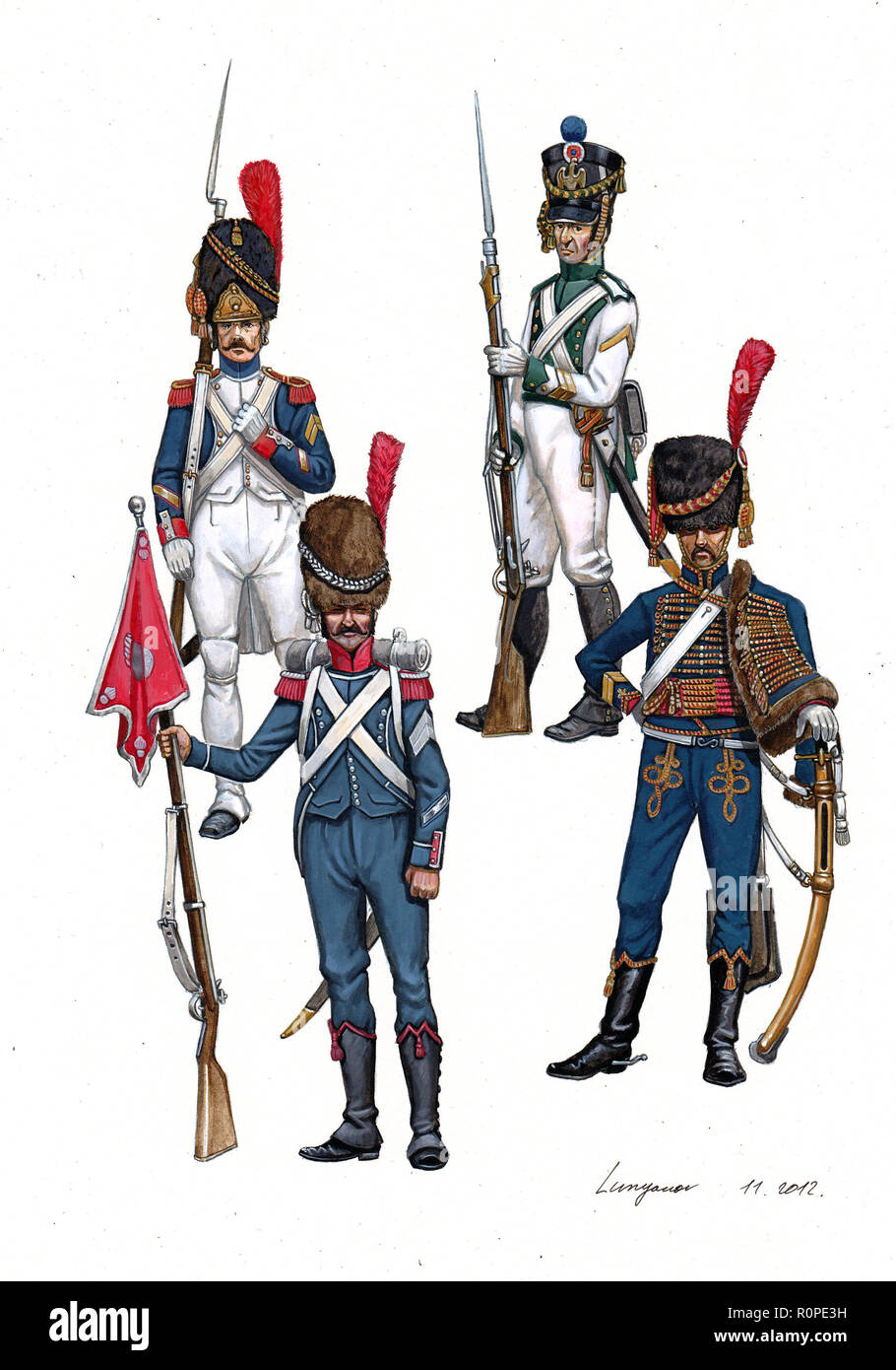 French Sergeants ( Sergents), 1804 - 1812 - Stock Image