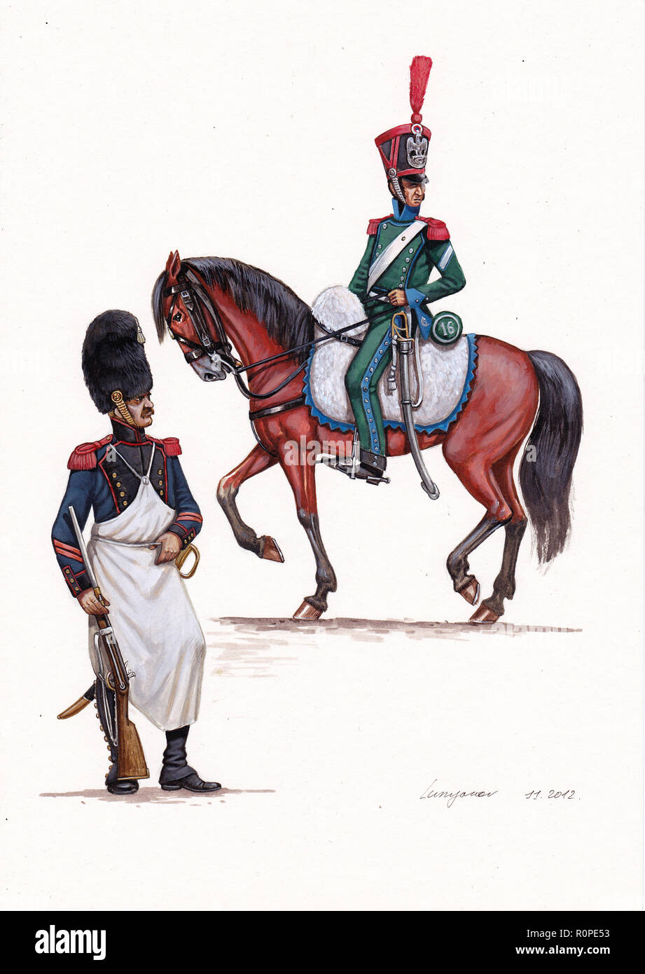 French Caporal and Brigadier, 1812. - Stock Image