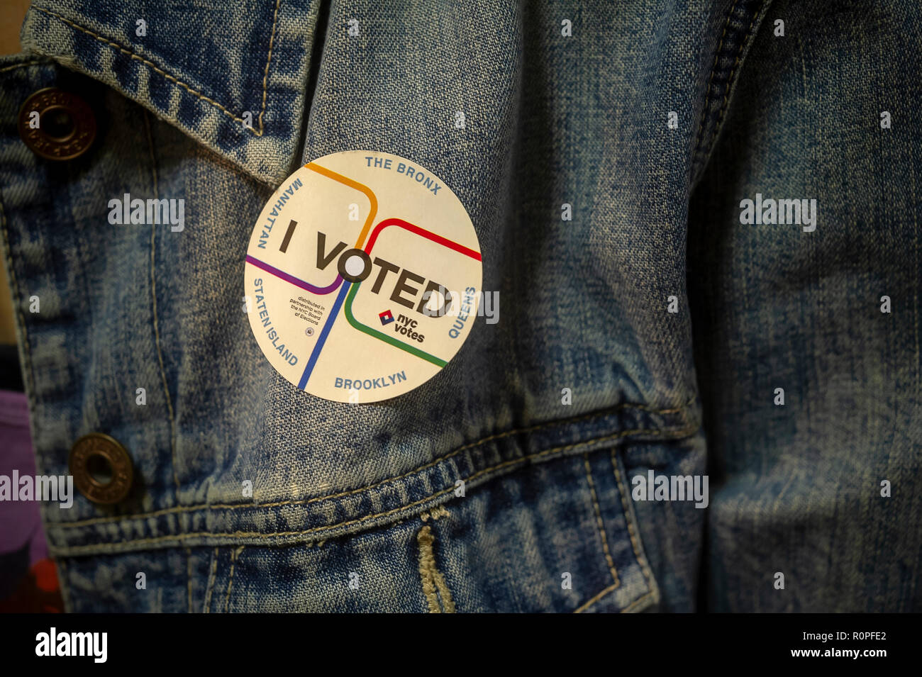 New York, USA. 6th November, 2018. A voter wears her 'I Voted' sticker on Election Day in New York on Tuesday, November 6, 2018. Credit: Richard Levine/Alamy Live News - Stock Image