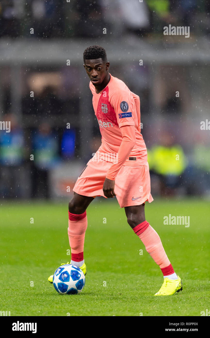 Ousmane Dembele (Barcelona) during 'Uefa Champions League ' Group Stage B match between Inter 1-1 Barcelona at Giuseppe Meazza Stadium on SNovember 06, 2018 in Milano, Italy. Credit: Maurizio Borsari/AFLO/Alamy Live News - Stock Image