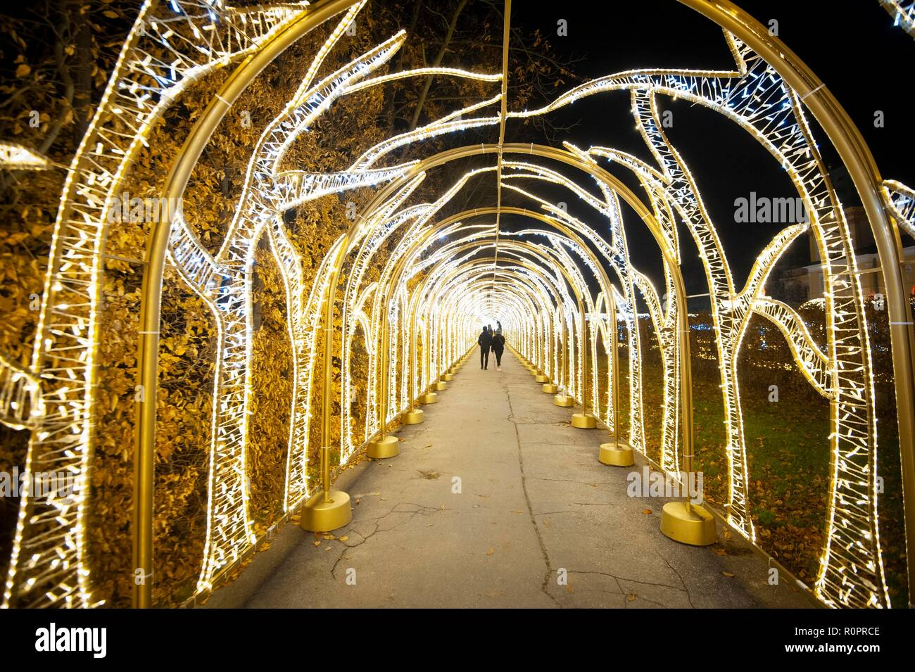 Warsaw, Poland. 6th Nov, 2018. People visit the Royal Garden of Light exhibition at Wilanow Palace in Warsaw, Poland, on Nov. 6, 2018. Credit: Jaap Arriens/Xinhua/Alamy Live News - Stock Image