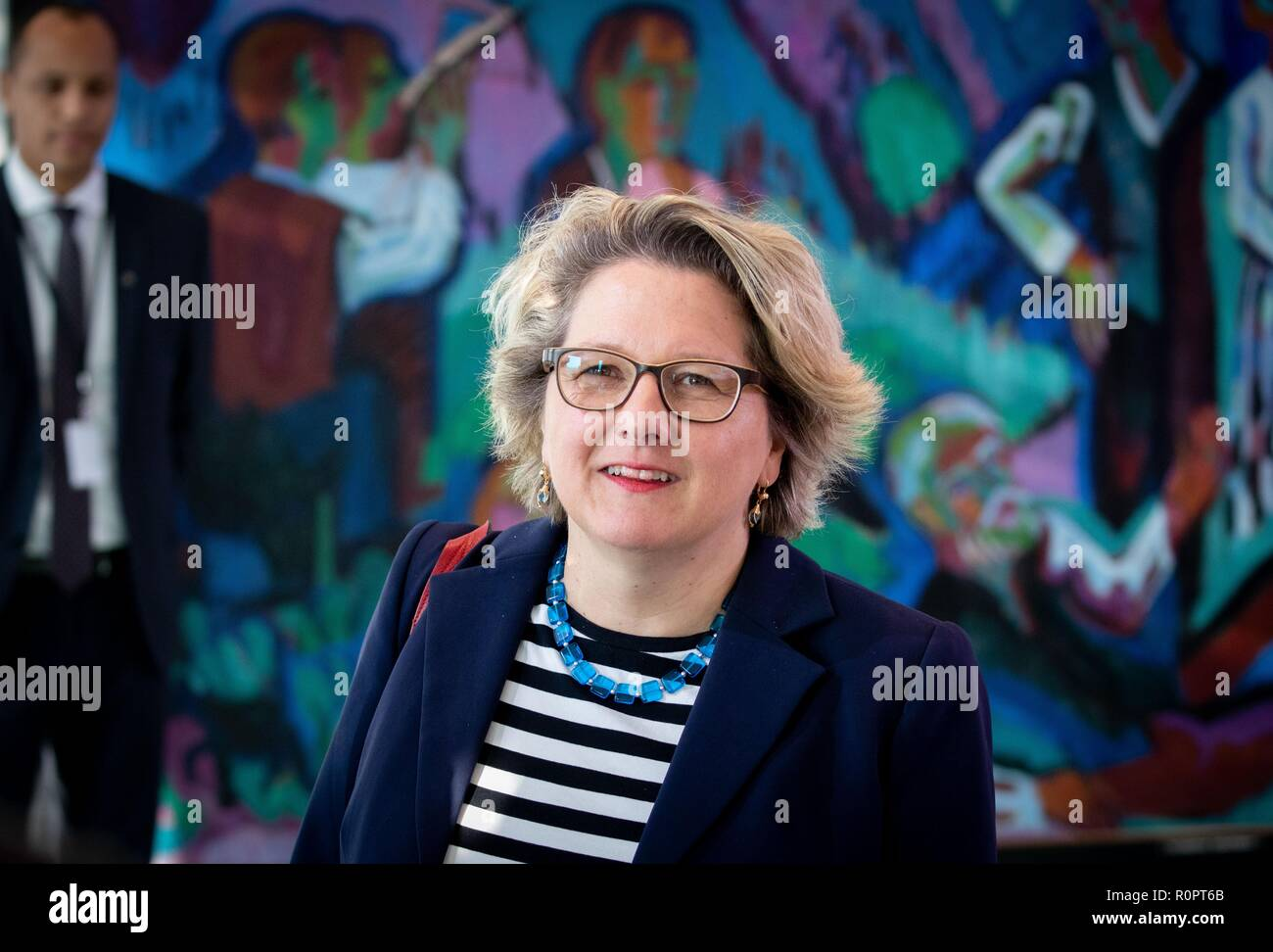 Berlin, Germany. 07th Nov, 2018. Svenja Schulze (SPD), Federal Minister for the Environment, Nature Conservation and Nuclear Safety, attends the Federal Cabinet meeting at the Federal Chancellery. Credit: Kay Nietfeld/dpa/Alamy Live News - Stock Image
