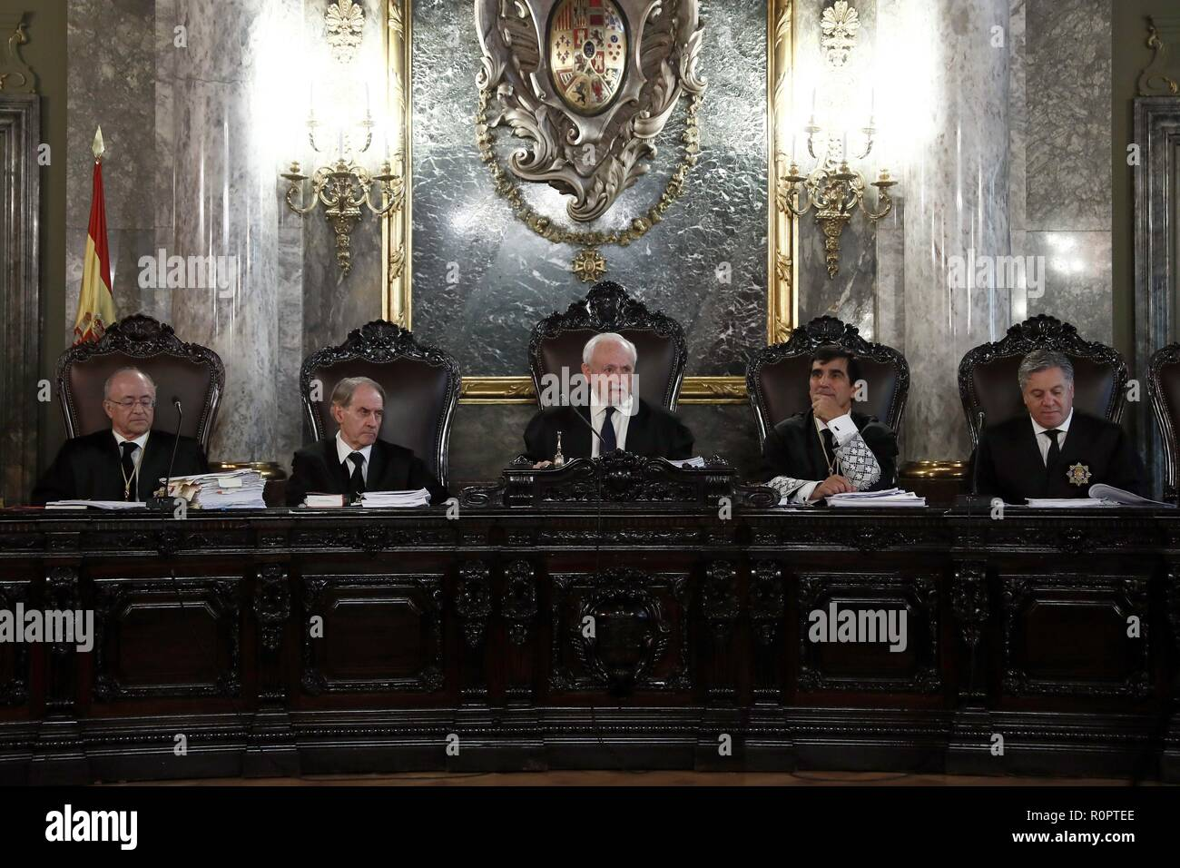 Madrid, Spain. 07th Nov, 2018. Magistrates are seen during the appeal hearing against the sentences of former Catalan President Artur Mas at the Spanish Supreme Court, in Madrid, Spain, 07 November 2018. Artur Mas, the former Vice President Joana Ortega and the former regional minister Irene Rigau lodged an appeal against their sentences for insubordination for the organization of the Catalan self-determination vote held on 09 November 2014. Credit: Sebastián Mariscal Pool/EFE/Alamy Live News - Stock Image